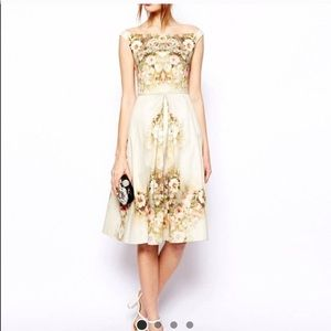 ASOS Beige Floral Midi Dress
